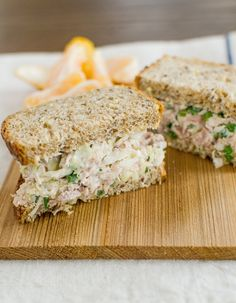 I love a little crunch in my tuna salad. I also am not the biggest fan of mayonnaise; I like a dab but no more. Here's a tuna salad in that spirit — fresh, crisp, and light, with more vegetables than tuna in the mix.