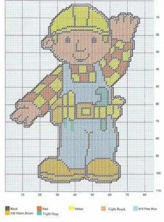 Bob the Builder Stitch Character, Kid Character, Cross Stitch Embroidery, Cross Stitch Patterns, Cartoon Video Games, Bob The Builder, Cross Stitch For Kids, Old Cartoons, Afghan Crochet Patterns