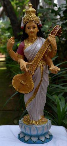 Of Ravi Varma vintage Saraswathi Devi, Navratri Puja, Raja Ravi Varma, Saraswati Goddess, Lord Ganesha Paintings, Dancing Dolls, Indian Dolls, Cute Paintings, Beautiful Nature Wallpaper