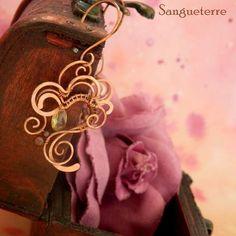 Perdita * mysterious earrings wirewrapping * wirewrapped * jewelry * copper * romantic * fantasy * fairy * elf * fairytale * magic * art nouveau * handmade