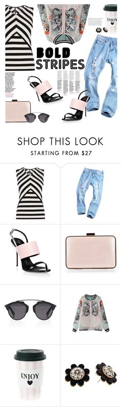 """Truly Bold"" by lisalockhart ❤ liked on Polyvore featuring Karen Millen, Giuseppe Zanotti, Coccinelle, Christian Dior, Kate Spade and stripedshirt"