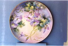 overglaze mineral paint on porcelain, morning glories by Jean Sadler