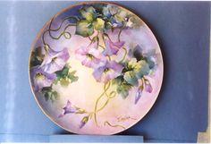 overglaze mineral paint on porcelain, morning glories by Jean Sadler