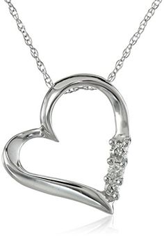 "10k White Gold and Diamond Three-Stone Heart Pendant Necklace (0.1 cttw, I-J Color, I2-I3 Clarity), 18"" Amazon Curated Collection http://www.amazon.com/dp/B000O1QM8E/ref=cm_sw_r_pi_dp_kBiSub0Z3DS1E"