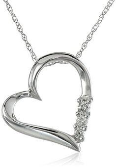 "10k Gold and Diamond Three-Stone Heart Pendant Necklace (1/10 cttw, I-J Color, I2-I3 Clarity), 18"""