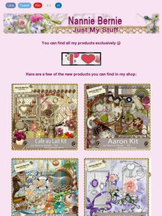 """Ad: 4 New Scrapkits """"Cafe au Lait"""",""""Aaron"""",""""I Sea U"""",and """"Meant To Be"""" from Nannie Bernie!https://madmimi.com/s/0c0315"""