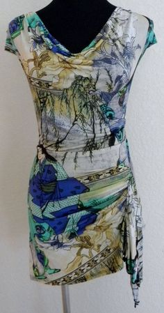 NWT Cache Oriental Print Blouse Asymmetrical Hem Sleeveless Blouse 8 #B1 #Cache #Blouse #EveningOccasion