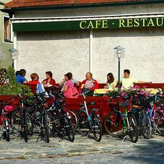 A well earned rest in the sun after a morning pedalling along the Danube Cycle Path. Stopping for Kafe und Kuchen (Coffee and Cake) was always a temptation as I cycled alongside the Danube.