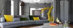 KERRIA is a modular sofa, providing a rounded composition. Available in Roche Bobois stores worldwide. Furniture Inspiration, Design Inspiration, Design Ideas, Planet Design, Structure Metal, Yellow Accents, Luxury Sofa, Modular Sofa, Decoration
