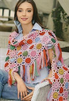 Chal de crochet - Tutorial - ✿Teresa Restegui http://www.pinterest.com/teretegui/✿