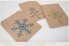 DIY cards - these would make great gift tags too! Diy Christmas Cards, Christmas Mood, Xmas Cards, Diy Cards, Christmas Crafts, Simple Christmas, Stitching On Paper, Paper Embroidery, Nouvel An
