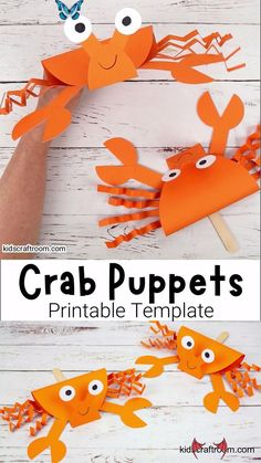 Adorable Crab Puppets  <br> This Crab Puppet Craft is so fun for kids. Download the printable crab craft template today. Such a fun ocean craft for kids this Summer! Summer Crafts For Kids, Paper Crafts For Kids, Craft Activities For Kids, Preschool Crafts, Projects For Kids, Diy For Kids, Fun Crafts, Craft Projects, Cool Kids