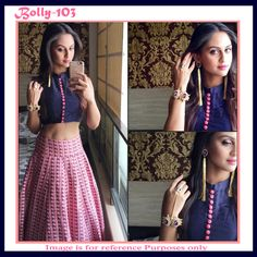 Bollywood Replica Krystle Dsouza Blue & Pink Crop Top With Printed Skirt #Lehenga