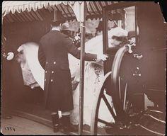 Footmen help the former Consuelo, Duchess of Marlborough, the former Miss Vanderbilt, board a carriage at St Thomas Church, NYC, following her marriage ceremony (6 Nov 1895) to Charles Richard John Spencer-Churchill, the 9th Duke of Marlborough.