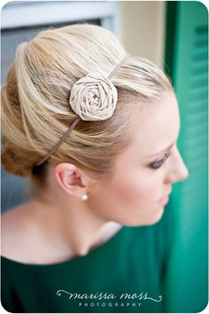 Solid color single fabric rosette headband by babybirdieboutique, $9.50
