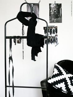 """""""I'll stop wearing black the day they make a darker color"""" Ikea Hall, Diy Clothes Hangers, Clothes Racks, Black White Bedrooms, Diy Wardrobe, Iron Furniture, White Houses, Dark Colors, Wearing Black"""