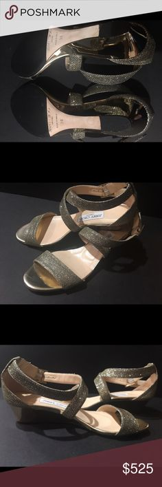 """Jimmy Choo. Authentic. Jimmy Choo sparkling ✨ gold sandal.  Size 7.5, 1.5"""" heel.  Jimmy Choo branding on the buckle.  Adjustable strap with sparkling gold ✨✨material.  As noted in the picture reinforced sole added.  Made in Italy.  🚫 trades. Reasonable offers accepted.  Regular price $675.00 + tax.  Please inquiry before bidding. Jimmy Choo  Shoes Flats & Loafers"""
