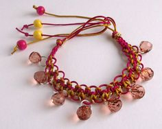 Pink and gold macrame bracelet with beads. by SkyesHandcrafts, £6.00