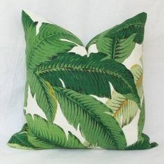 """Palm leaf indoor/outdoor throw pillow cover. 18"""" x 18"""" . 20"""" x 20"""". 22"""" x 22"""". 24"""" x 24"""". 26"""" x 26"""" Tommy Bahama toss pillow."""