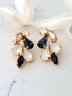 Royal blue earring,Bridal chandelier earrings,Sapphire blue white ...
