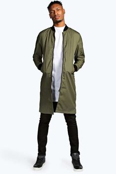 $60, Olive Bomber Jacket: Boohoo Long Line Lightweight Bomber Jacket. Sold by BooHoo. Click for more info: https://lookastic.com/men/shop_items/308331/redirect