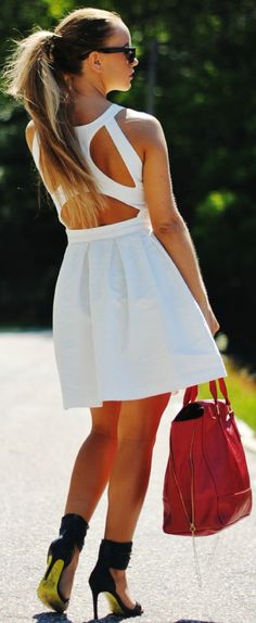 Gina Tricot White Adorable Strappy Back A-line Dress