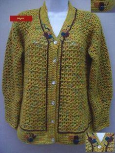 Casaco de crochê em lã