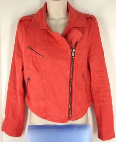 Free People Linen Motorcycle Jacket Size 8 M Cherry Red NEW NWT