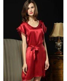 fbec9da1c6 100% mulberry silk Picture color Elegance Low round Scooped neck Bridal  robe. MiamaStore. Plus Size Silk Nightgowns Silk Nighties Silk Sleepwear ...