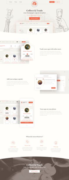 Champagne Caps – landing page | #ui #ux #userexperience #website #webdesign #design #minimal #minimalism #art #white #orange #blue #travel #map #ecommerce #fashion