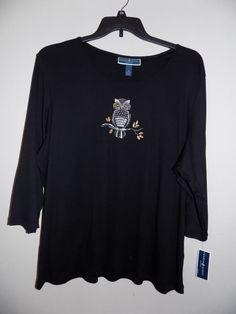 Karen Scott Owl-Graphic Scoop-neck Plus size 3X BLACK rhinestone 3/4 sleeve #KarenScott #34sleeve