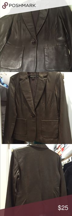 Prague chocolate brown leather jacket Prague chocolate brown leather jacket. Super soft leather! New, never worn. Wasn't The right size and I didn't return it in time. Measures 17 inches across chest and is 22 inches long from base of collar to bottom of jacket. Prague Jackets & Coats