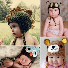 More crotchet: Animal Hats For Babies