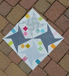 Rocky Road Star quilt blocks by Color Girl Quilts. Tutorial on paper piecing with less wasted fabric.