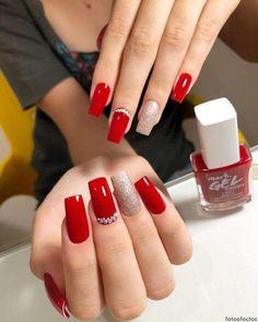 Classy Nail Designs, Red Nail Designs, Beautiful Nail Designs, Us Nails, Love Nails, Pretty Nails, Red Nail Art, Red Nail Polish, Nagellack Trends