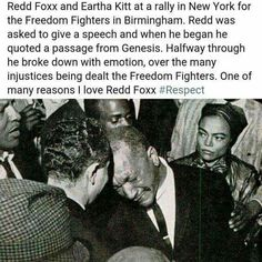 Redd Foxx and Eartha Kitt/ at a New York Civil Rights rally Black History Facts, Black History Month, We Are The World, In This World, Black Art, Redd Foxx, Eartha Kitt, Cultura General, By Any Means Necessary