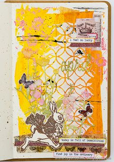 Layers of ink - April Art Journal Page by Anna-Karin. Made for the Simon Says Stamp Monday Challenge Blog, using Tim Holtz stamps and idea-ology pieces, Distress Oxides and Ranger inks and paints. Small Creative Dylusions journal.
