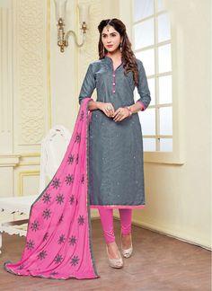 Grey and Pink Najneen Embroidered Churidar Salwar Suit