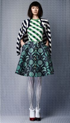 pattern & print mix in blue and turquoise  | Fashion + Photography | Photo: Thom Browne |