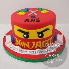 Ninjago Cake For 8 Ninja Birthday Cake, Ninja Cake, Ninja Birthday Parties, Birthday Fun, Lego Ninjago Cake, Ninjago Party, Lego Cake, Bolo Lego, Cakes For Boys