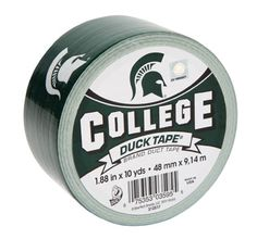 Michigan State University College Duck Tape® brand duct tape. Learn more about this product at http://duckbrand.com/products/duck-tape/licensed/college-duck-tape/michigan-state-188-in-x-10-yd?utm_campaign=college-duck-tape-general&utm_medium=social&utm_source=pinterest.com&utm_content=college-duck-tape