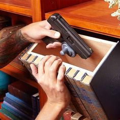 The Old Hollowed-Out-Book Trick - 13 Secret Hiding Places: http://www.familyhandyman.com/home-security/20-secret-hiding-places#1