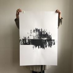 This is Unique Fellow 110 based on a photo of pines taken close to our cottage in Finland. We used a smaller screen frame and repeated the print varying the amount of paint and water.Size:  70 x 100 cm Paper: Colorit Misty Grey 225 gSigned with pencil (L. E. TANTTU).Rolled and packaged with care. Finland, Pencil, Cottage, Tapestry, Grey, Frame, Unique, Water, Painting