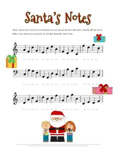 Christmas Note Name Worksheet. Great practice for treble and bass clef! Free printable :)