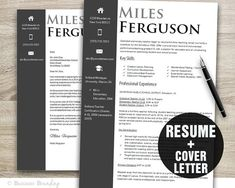 Instant Download Modern Resume Template and by BusinessBranding