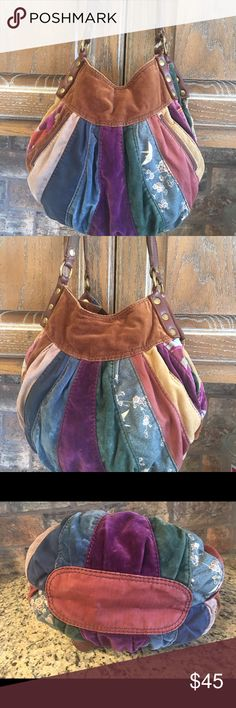 Lucky brand patchwork hobo hippie BoHo bag Lucky brand patchwork bag excellent condition front slit pockets materials include cotton velvet corduroy suede. Measurements are measured at the widest point the width is 15 the height is 13 and the depth is six with a strap drop of 10 Lucky Brand Bags Hobos