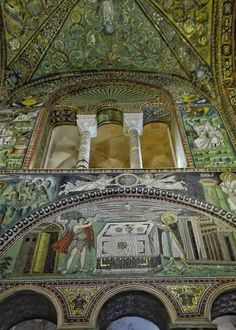 San Vitale (530-547), mosaici dell'area presbiteriale di destra. Nella lunetta, i sacrifici di Abele e Melchisedec.