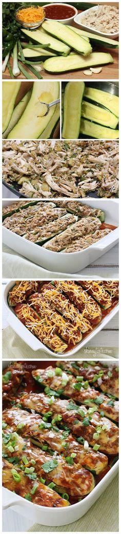Chicken Enchilada Stuffed Zucchini Boats