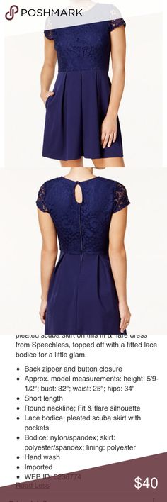 Fit and flare navy color dress MAKE AN OFFER! Speechless fit and flare dress with pockets, lace overlay bodice, zipper on back. Flattering and comfortable. Worn once. Like new. Juniors size L (which is approximate Women's size 10). Speechless Dresses Midi
