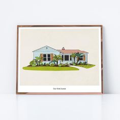 Custom home portrait, custom hand-drawn home portrait, custom house illustration, custom housewarming gift, custom house portrait House Illustration, Kitchen Art, Custom Homes, Home Art, House Warming, Hand Drawn, Latte, Business Cards, How To Draw Hands